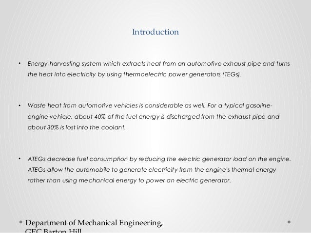 Experiments and simulations on heat exchangers in thermoelectric generator for automotive application Slide 2