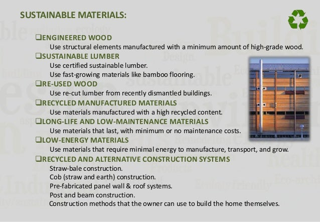 Sustainable architecture for Green building features checklist
