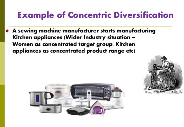 concentric diversification Concentric diversification in this form of a diversification strategy, the entity introduces new products with an aim to fully utilize the potential of the prevailing technologies and marketing system.