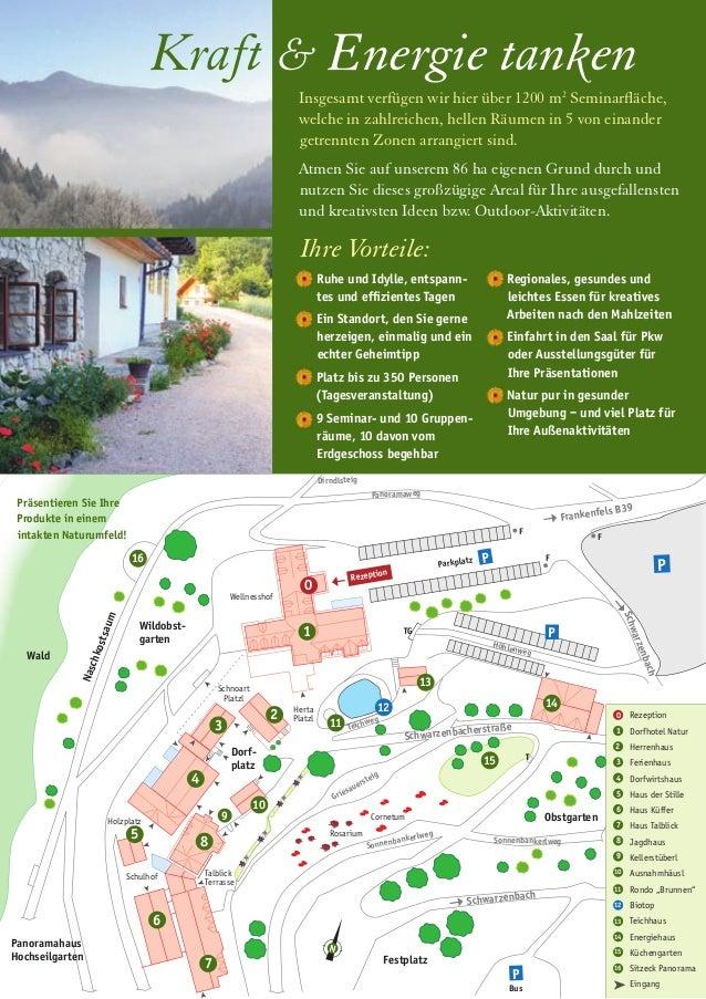 1 2 3 4 5 8 10 Dorf- platz N 0 12 Talblick Terrasse 11 16 Wald Schulhof Schwarzenbach Frankenfels B39 Rezeption Parkplatz ...