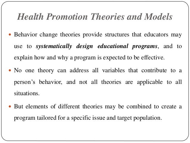 essay on theories and models of health promotion Pacific models and health promotion ieti lima health promotion forum workforce workshop  theories (hsc public health agency wwwpublichealthhscninet/.