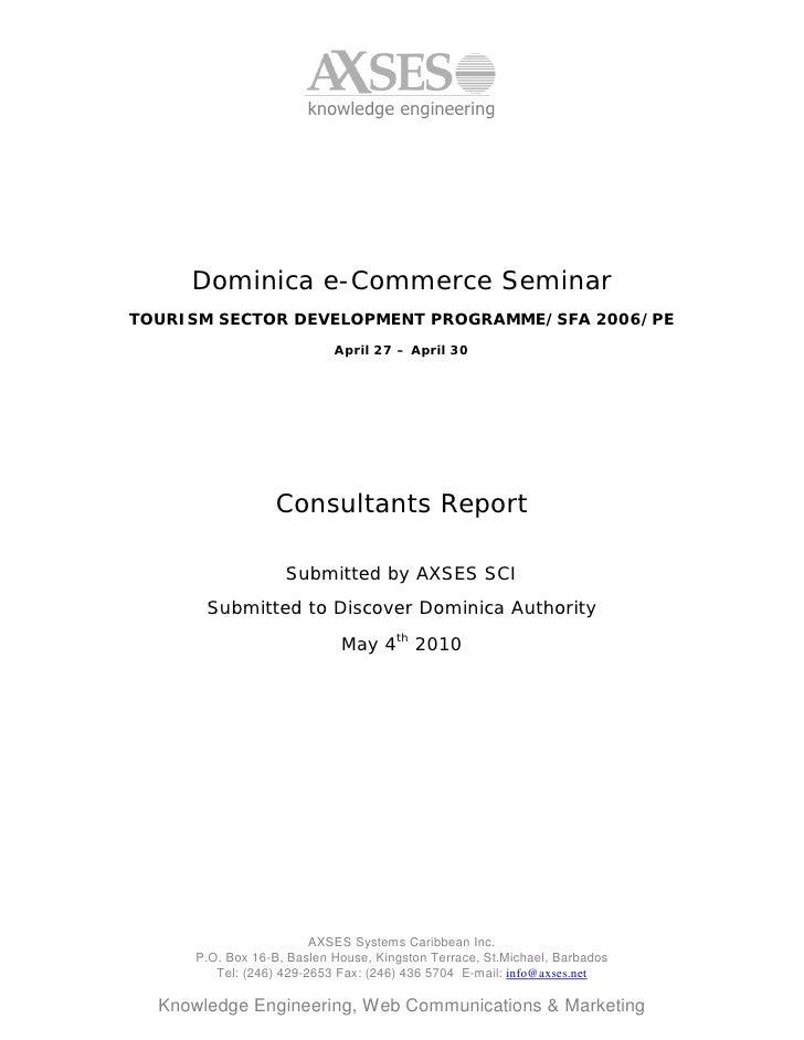 knowledge engineering          Dominica e-Commerce Seminar TOURISM SECTOR DEVELOPMENT PROGRAMME/SFA 2006/PE               ...
