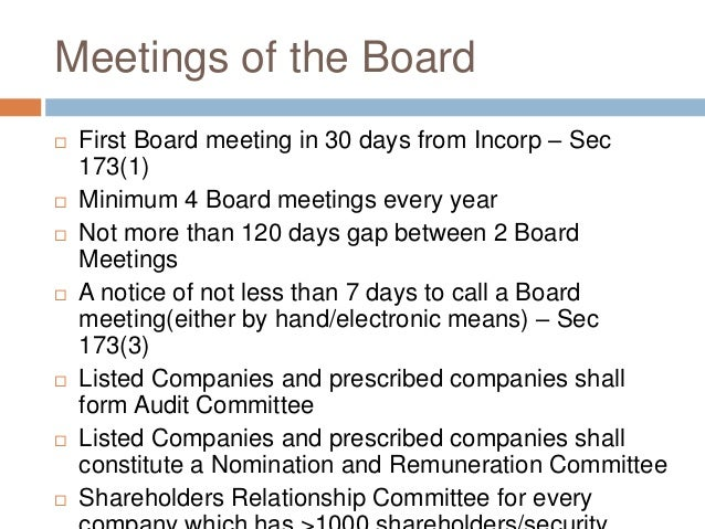 Companies Act 2013 - Directors, Independent Directors and Meetings