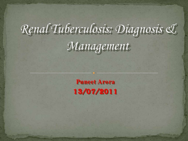 Renal Tuberculosis: Diagnosis & Management<br />PuneetArora<br />13/07/2011<br />