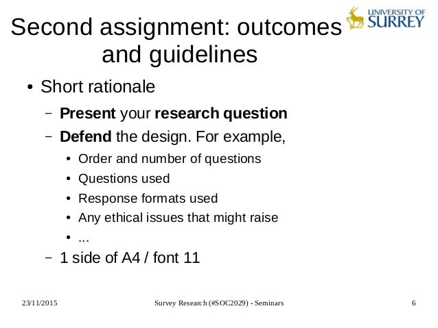 survey research soc2029 seminar 8 formulating a research question