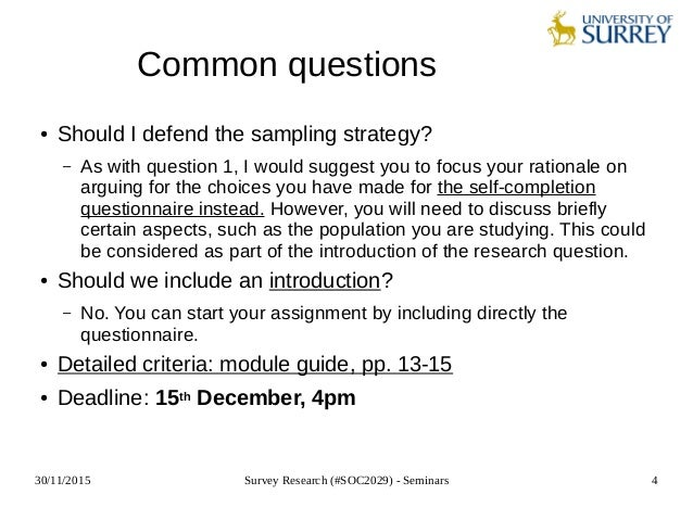 survey research soc2029 seminar 9 designing a self completion que