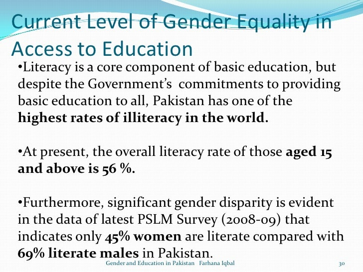 Essay gender equality in pakistan