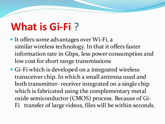 gifi over wifi Submission: $10 short range 5gbps wireless chip demonstrated  created by  the canada revenue agency in 1999, the gifi is a system.