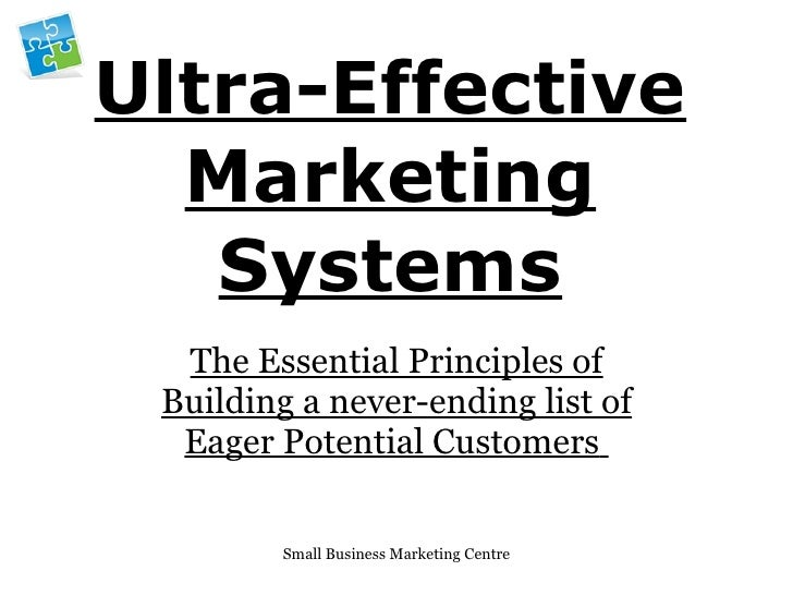 Ultra-Effective Marketing Systems The Essential Principles of Building a never-ending list of Eager Potential Customers