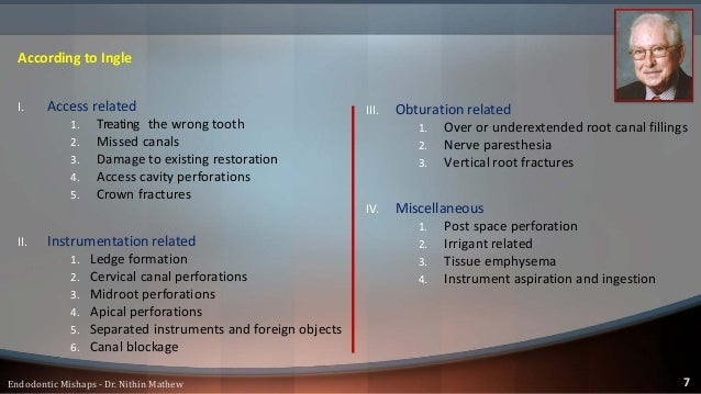 According to Leif Tronstad (Clinical Endodontics) I. Incomplete Analgesia II. Access cavity III. Perforations from the pul...