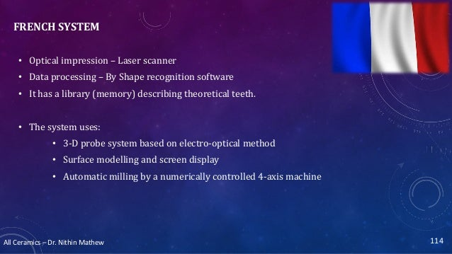 All Ceramics – Dr. Nithin Mathew FRENCH SYSTEM • Optical impression – Laser scanner • Data processing – By Shape recogniti...