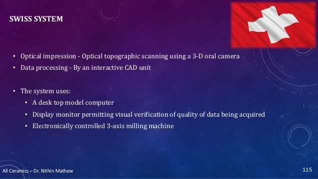 All Ceramics – Dr. Nithin Mathew SWISS SYSTEM • Optical impression - Optical topographic scanning using a 3-D oral camera ...