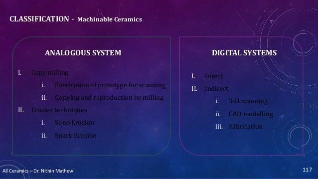 All Ceramics – Dr. Nithin Mathew CLASSIFICATION - Machinable Ceramics 117 ANALOGOUS SYSTEM DIGITAL SYSTEMS I. Direct II. I...