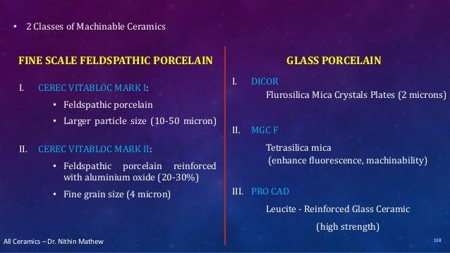 All Ceramics – Dr. Nithin Mathew FINE SCALE FELDSPATHIC PORCELAIN I. CEREC VITABLOC MARK I: • Feldspathic porcelain • Larg...