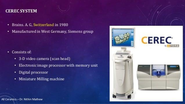 All Ceramics – Dr. Nithin Mathew CEREC SYSTEM • Brains. A. G, Switzerland in 1980 • Manufactured in West Germany, Siemens ...
