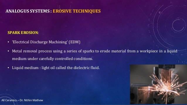 All Ceramics – Dr. Nithin Mathew ANALOGUS SYSTEMS : EROSIVE TECHNIQUES SPARK EROSION: • 'Electrical Discharge Machining' (...