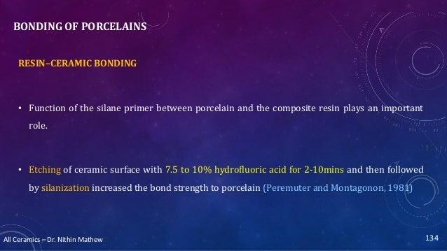 All Ceramics – Dr. Nithin Mathew BONDING OF PORCELAINS RESIN–CERAMIC BONDING • Function of the silane primer between porce...