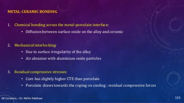 All Ceramics – Dr. Nithin Mathew METAL-CERAMIC BONDING 1. Chemical bonding across the metal-porcelain interface: • Diffusi...