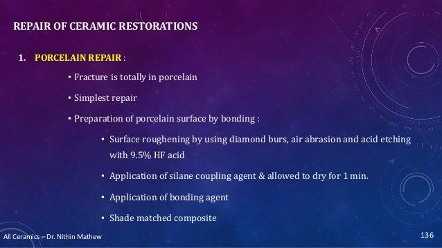 All Ceramics – Dr. Nithin Mathew REPAIR OF CERAMIC RESTORATIONS 1. PORCELAIN REPAIR : • Fracture is totally in porcelain •...
