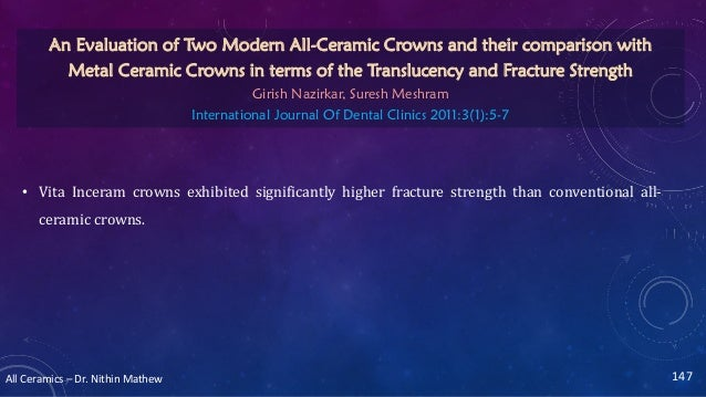 All Ceramics – Dr. Nithin Mathew • Vita Inceram crowns exhibited significantly higher fracture strength than conventional ...