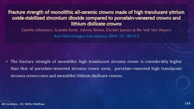 All Ceramics – Dr. Nithin Mathew • The fracture strength of monolithic high translucent zirconia crown is considerably hig...