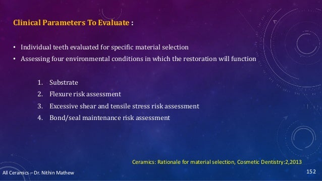 All Ceramics – Dr. Nithin Mathew 152 Clinical Parameters To Evaluate : • Individual teeth evaluated for specific material ...