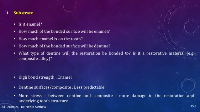 All Ceramics – Dr. Nithin Mathew 153 1. Substrate • Is it enamel? • How much of the bonded surface will be enamel? • How m...