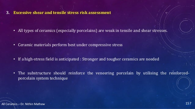 All Ceramics – Dr. Nithin Mathew 157 3. Excessive shear and tensile stress risk assessment • All types of ceramics (especi...