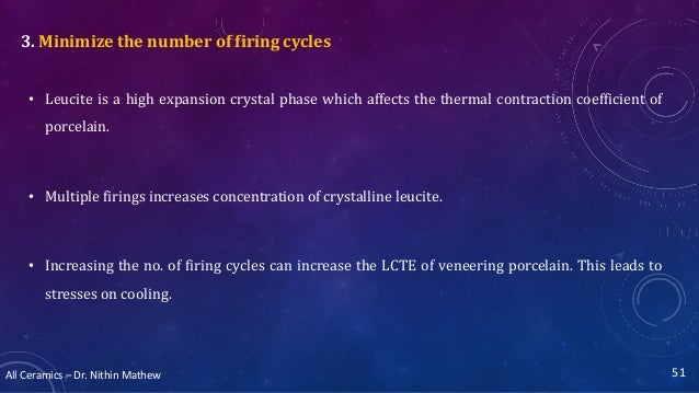 All Ceramics – Dr. Nithin Mathew 3. Minimize the number of firing cycles • Leucite is a high expansion crystal phase which...