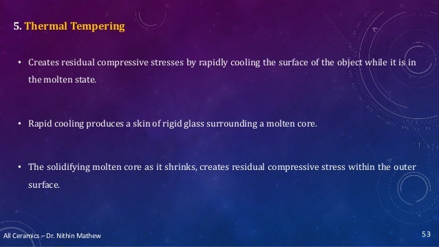 All Ceramics – Dr. Nithin Mathew 5. Thermal Tempering • Creates residual compressive stresses by rapidly cooling the surfa...