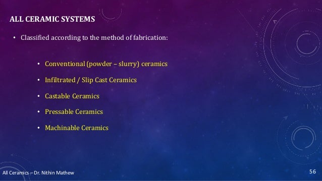 All Ceramics – Dr. Nithin Mathew ALL CERAMIC SYSTEMS • Classified according to the method of fabrication: • Conventional (...