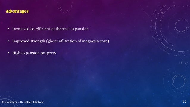 All Ceramics – Dr. Nithin Mathew Advantages 62 • Increased co-efficient of thermal expansion • Improved strength (glass in...