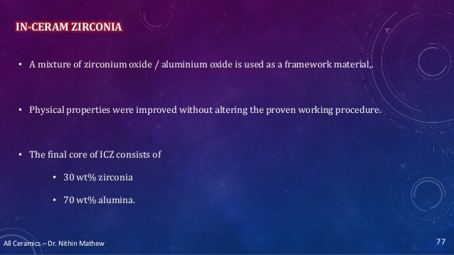 All Ceramics – Dr. Nithin Mathew IN-CERAM ZIRCONIA • A mixture of zirconium oxide / aluminium oxide is used as a framework...