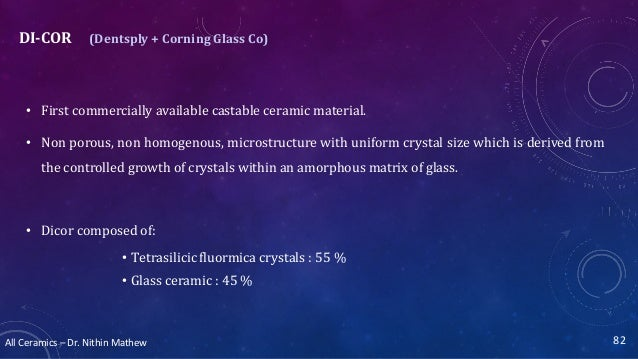 All Ceramics – Dr. Nithin Mathew DI-COR (Dentsply + Corning Glass Co) • First commercially available castable ceramic mate...