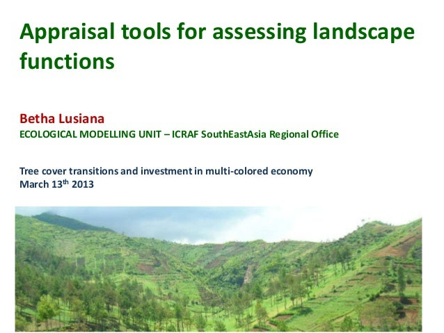 Appraisal tools for assessing landscapefunctionsBetha LusianaECOLOGICAL MODELLING UNIT – ICRAF SouthEastAsia Regional Offi...