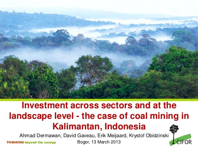 Investment across sectors and at the landscape level - the case of coal mining in           Kalimantan, Indonesia      Ahm...
