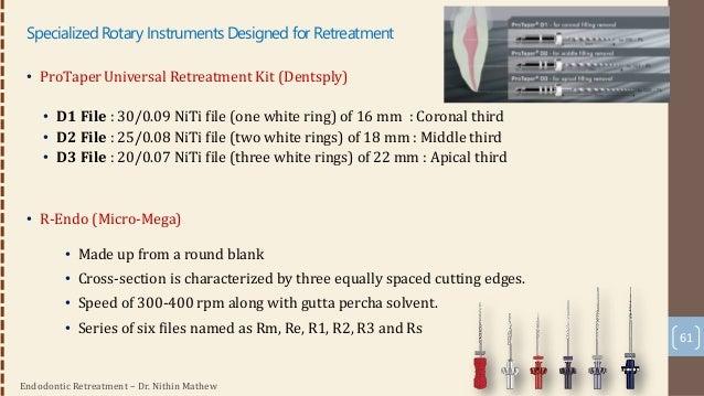 Endodontic Retreatment – Dr. Nithin Mathew • Mtwo Retreatment Kit (Sweden and Martina) • S-shaped cross-section • 2 instru...
