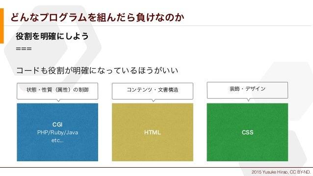 2015 Yusuke Hirao, CC BY-ND. どんなプログラムを組んだら負けなのか 役割を明確にしよう === コードも役割が明確になっているほうがいい CGI PHP/Ruby/Java etc... HTML CSS コンテンツ...