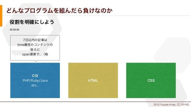 2015 Yusuke Hirao, CC BY-ND. どんなプログラムを組んだら負けなのか 役割を明確にしよう === CGI PHP/Ruby/Java etc... HTML CSS 7日以内の記事は time属性のコンテンツの 後ろに...