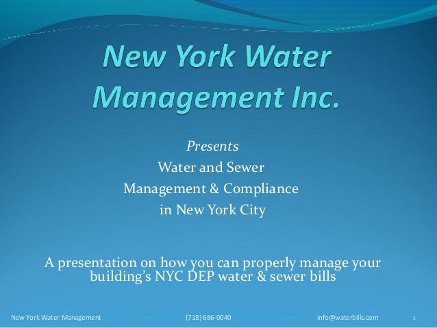 Presents                                Water and Sewer                            Management & Compliance                ...