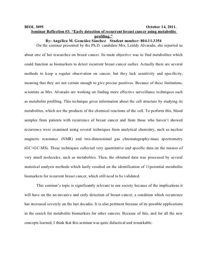 """BIOL 3095                                                            October 14, 2011.   Seminar Reflection #3: """"Early det..."""