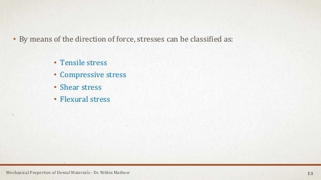 Mechanical Properties of Dental Materials - Dr. Nithin Mathew • By means of the direction of force, stresses can be classi...