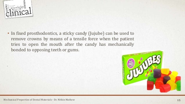 Mechanical Properties of Dental Materials - Dr. Nithin Mathew 15 • In fixed prosthodontics, a sticky candy (Jujube) can be...