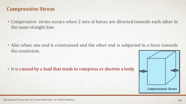 Mechanical Properties of Dental Materials - Dr. Nithin Mathew Compressive Stress • Compressive stress occurs when 2 sets o...