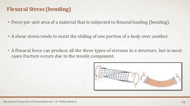 Mechanical Properties of Dental Materials - Dr. Nithin Mathew Flexural Stress (bending) • Force per unit area of a materia...