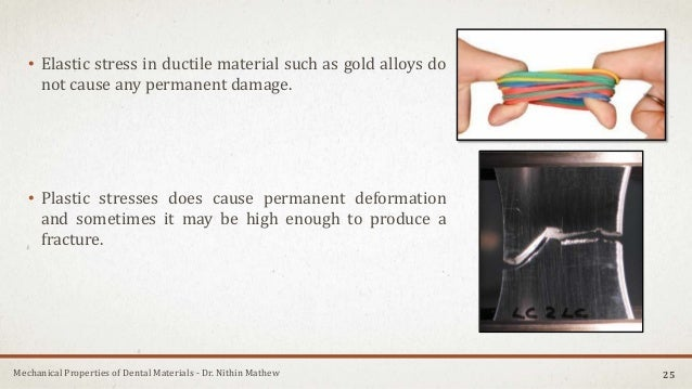 Mechanical Properties of Dental Materials - Dr. Nithin Mathew • Elastic stress in ductile material such as gold alloys do ...