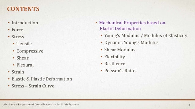 Mechanical Properties of Dental Materials - Dr. Nithin Mathew CONTENTS • Introduction • Force • Stress • Tensile • Compres...