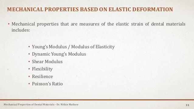 Mechanical Properties of Dental Materials - Dr. Nithin Mathew MECHANICAL PROPERTIES BASED ON ELASTIC DEFORMATION • Mechani...