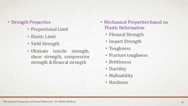 Mechanical Properties of Dental Materials - Dr. Nithin Mathew • Strength Properties • Proportional Limit • Elastic Limit •...