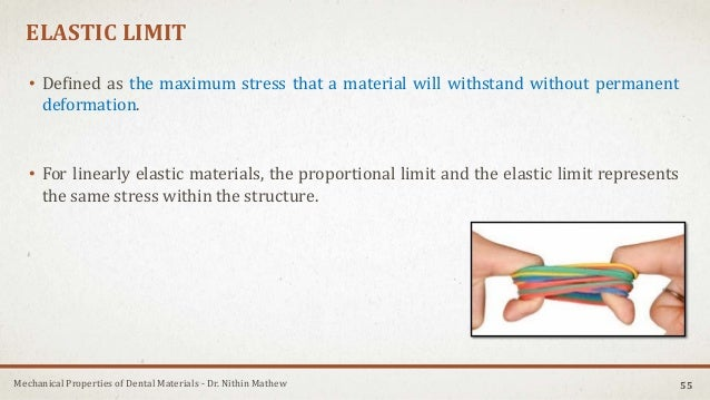Mechanical Properties of Dental Materials - Dr. Nithin Mathew ELASTIC LIMIT • Defined as the maximum stress that a materia...